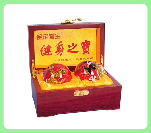 景泰蓝龙凤健身球 —木盒