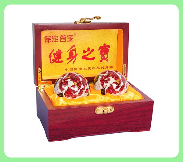 景泰蓝白牡丹健身球—木盒