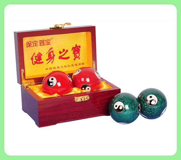珐琅阴阳健身球—木盒