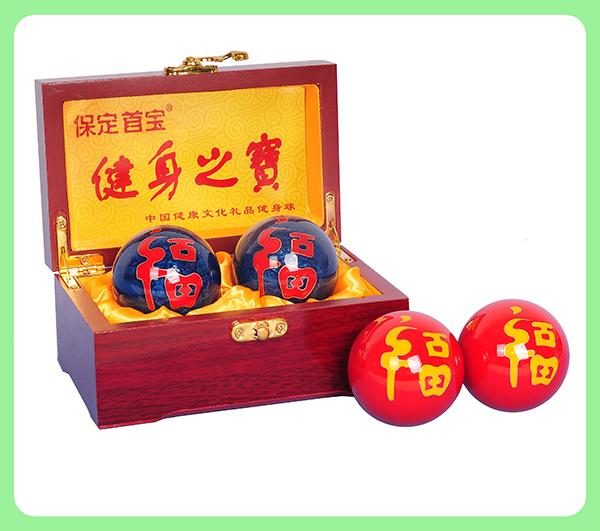 珐琅福字健身球—木盒