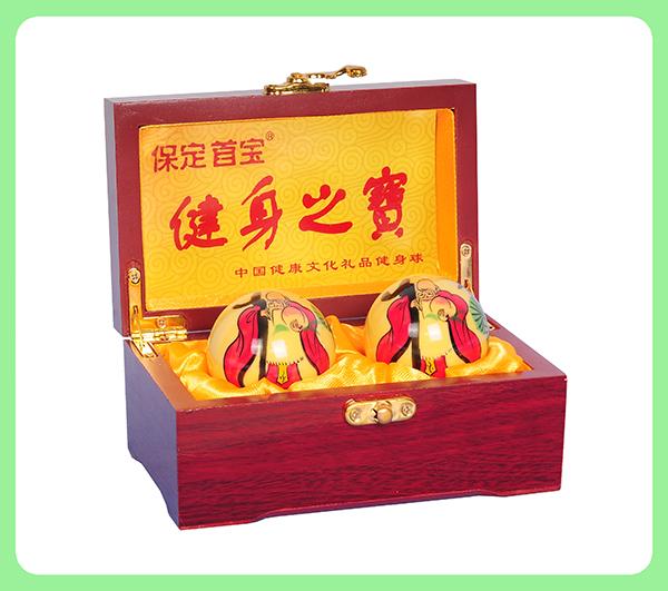 彩绘寿星健身球—木盒