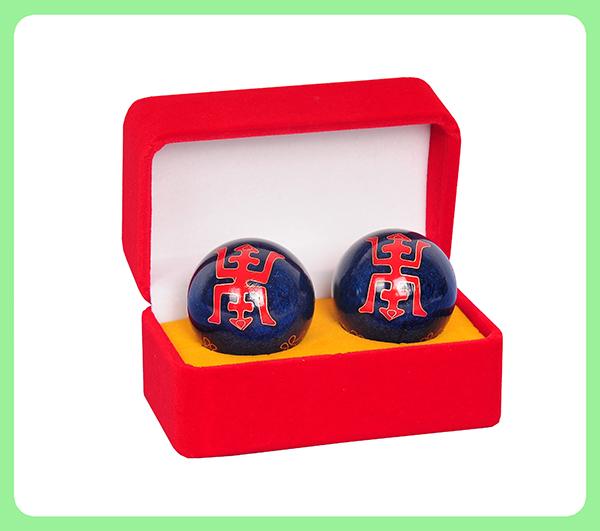 珐琅寿字健身球—平绒盒