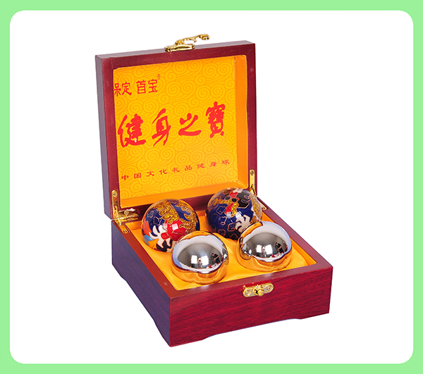 景泰蓝龙凤/传统镀铬健身球—木盒