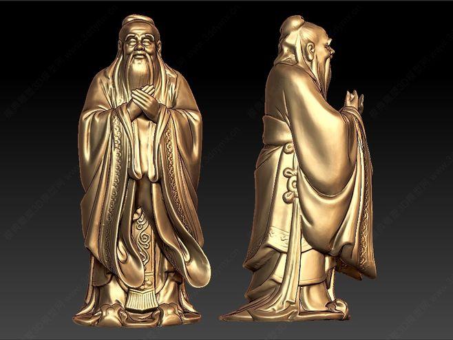 铸铜孔子雕塑