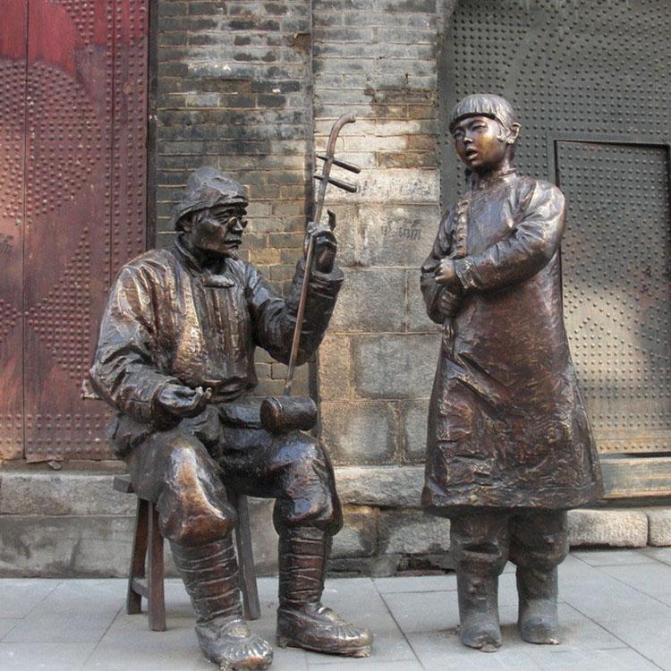 步行街拉二胡人物雕塑