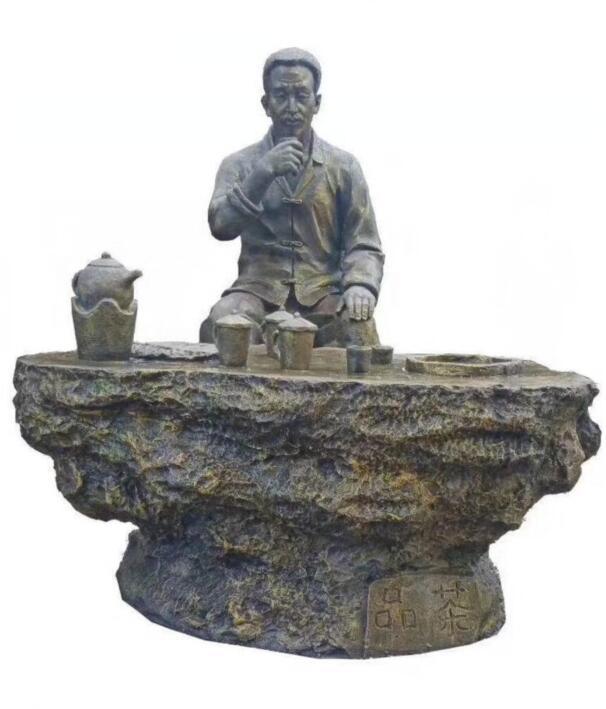 铸铜喝茶雕塑-公园铜雕人物喝茶