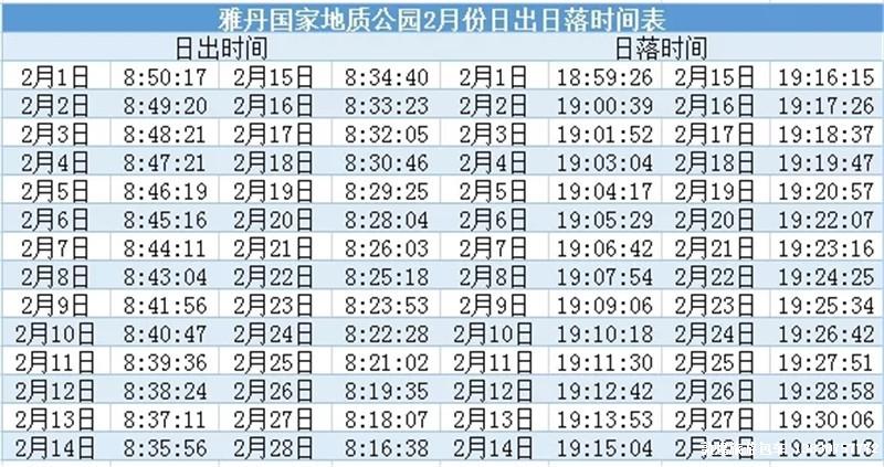 雅丹日出、日落时间表