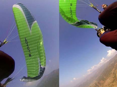 飞行中滑翔伞单边折翼情况图解