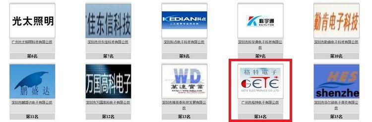 《慧聪网》电子行业2013年十大评选,格特电子公司进入30强