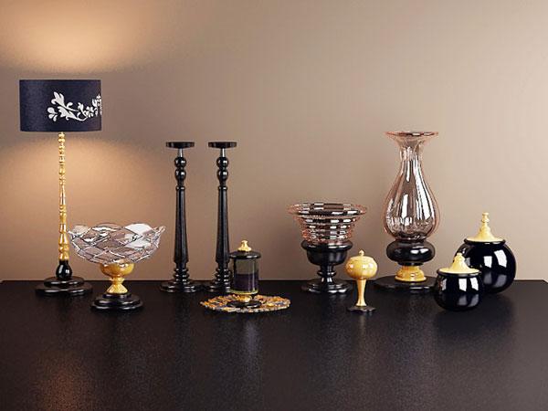 3d 玻璃器皿 家居 欧式 台灯 烛台 装饰品