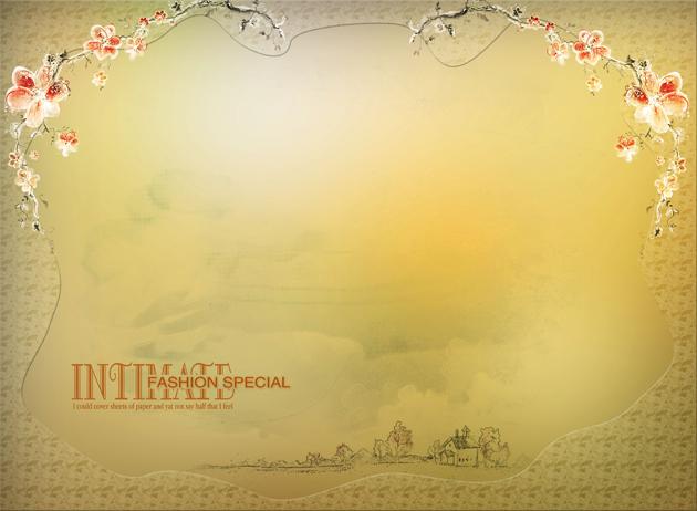 素材 psd 花纹边框 鲜花 花框 边框 羊皮纸 底纹背景
