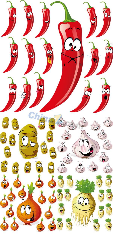 素材 矢量 食品果蔬 卡通蔬菜 辣椒 土豆 大蒜 洋葱 萝卜 卡通形象