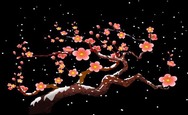 素材 flash 个性设计 梅花 雪景 透明