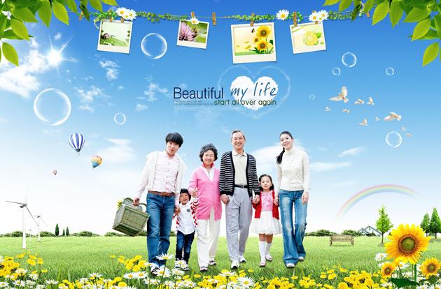 素材 psd 人物生活 幸福美满 幸福一家 快乐家庭 相片相册 植物