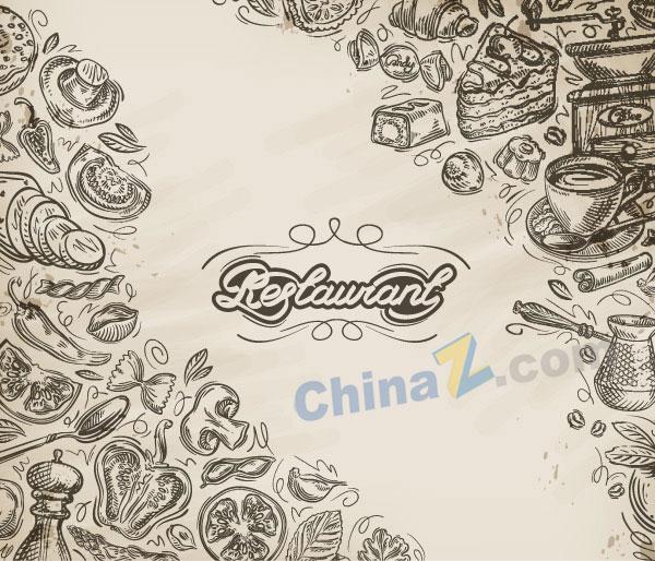 素材 矢量 食物 手绘 美食 美味食品 食物 欧式美食 黑白绘画 底纹