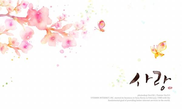 粉红色花朵与蝴蝶psd分层素材