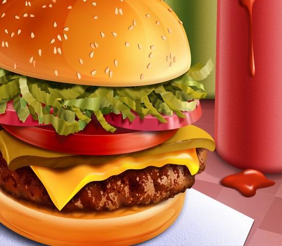 素材 网页模板 动植食物 汉堡包 分层 汉堡 卡通图 美味
