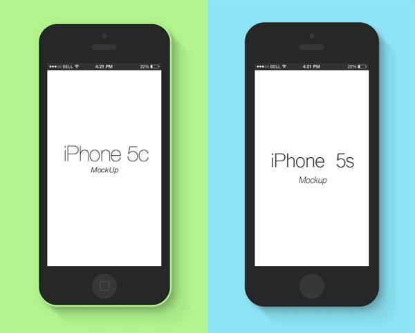 平面iphone5c/5s模型psd