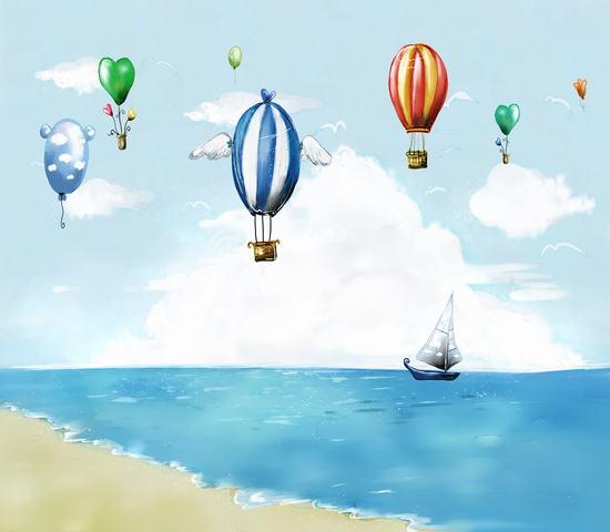 素材 网页模板 建筑风光 韩国风景 插画 热气球 海边 帆船 漫画