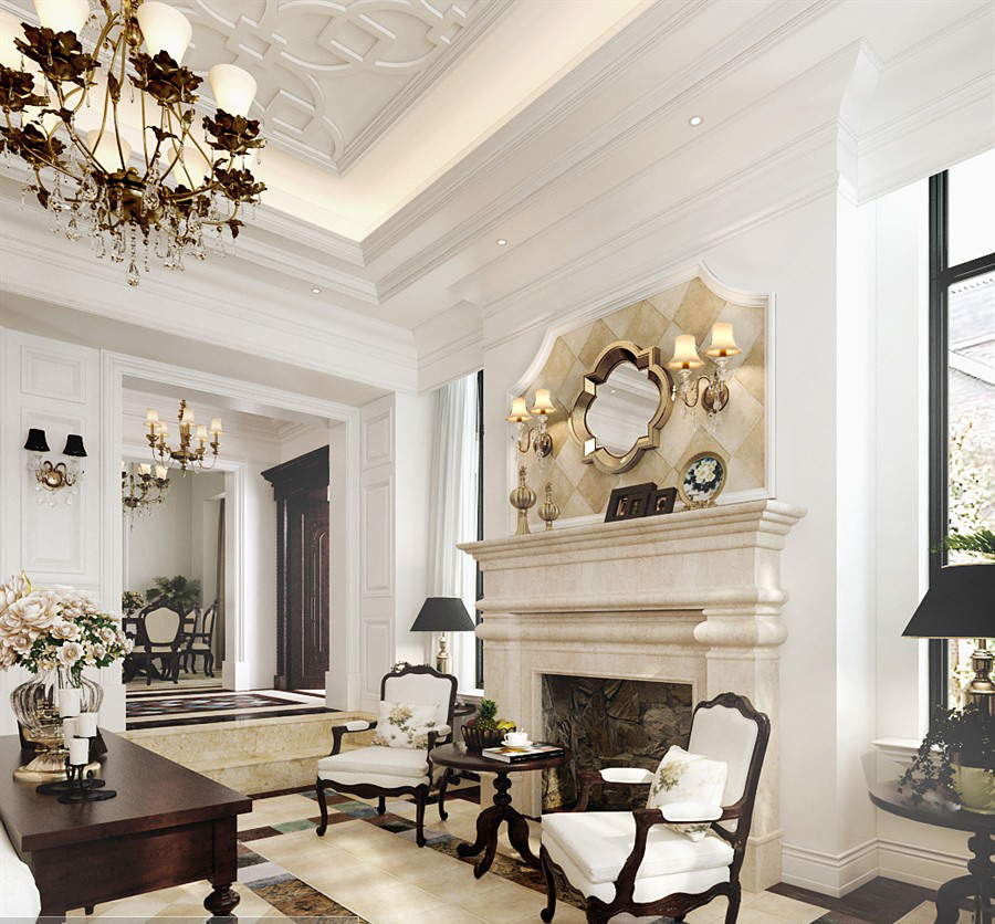 素材 3d 室内效果 纯欧式客厅免费下载 壁炉 家居 家装 客厅 模型