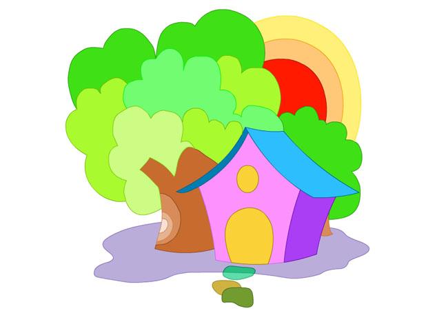 素材 flash 个性设计 手绘动画 树木素材 手绘图案 房屋素材