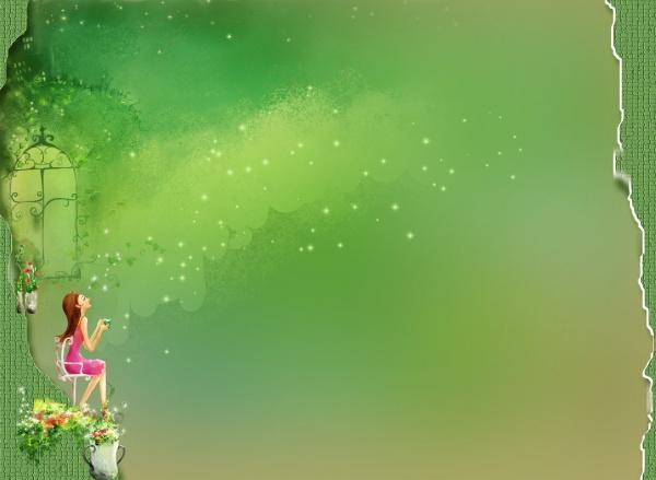素材 psd 花纹边框 背景 窗台 春天 底图 花瓣 花朵 花盆 绿色 美丽心