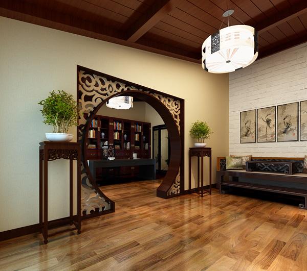 3d 室内效果 书房入户门免费下载 花格 模型 书房 模型 入户门 花格