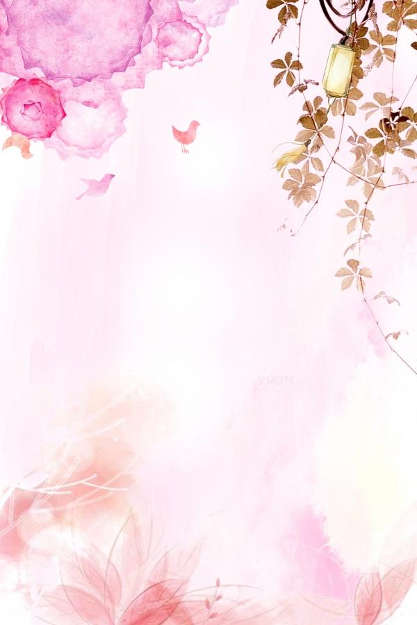 春季背景 粉色背景 花瓣背景 渐变背景 手绘背景素材 花鸟 淡彩水粉