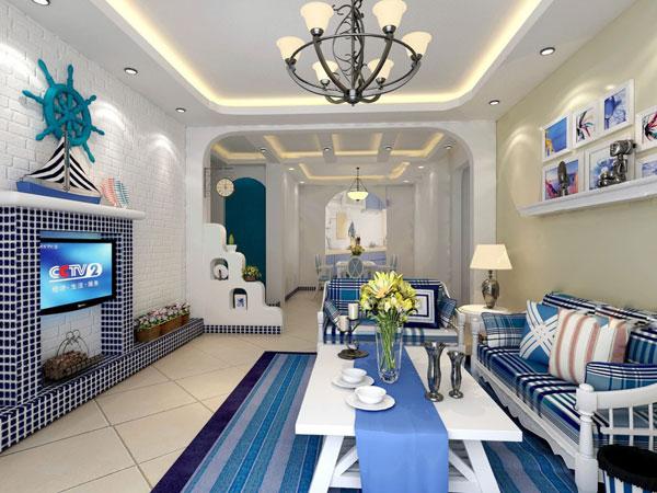 素材 3d 室内效果 海洋气息家居免费下载 创意 客厅 模型 装修