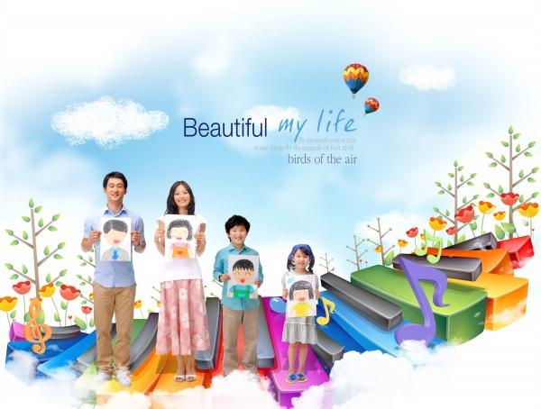 素材 psd 人物生活 幸福家庭 热气球 炫彩琴键 人物素材