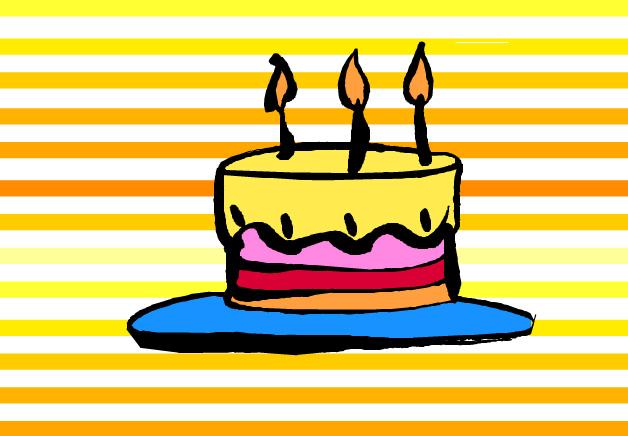 flash條紋背景生日蛋糕