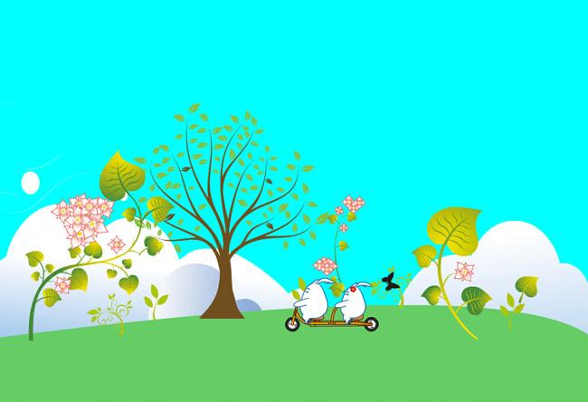 绿色花草树木生长flash动画图片