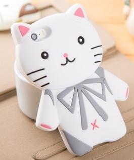 具有卡通绅士猫为外形设计的白色版3d硅胶手机套