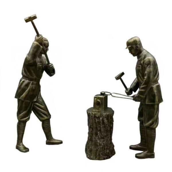 公园广场打铁人物铜雕