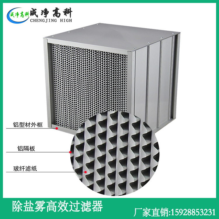 High efficiency filter for removing salt mist