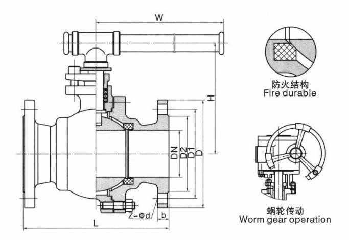 Q41F手动法兰铸钢球阀结构图