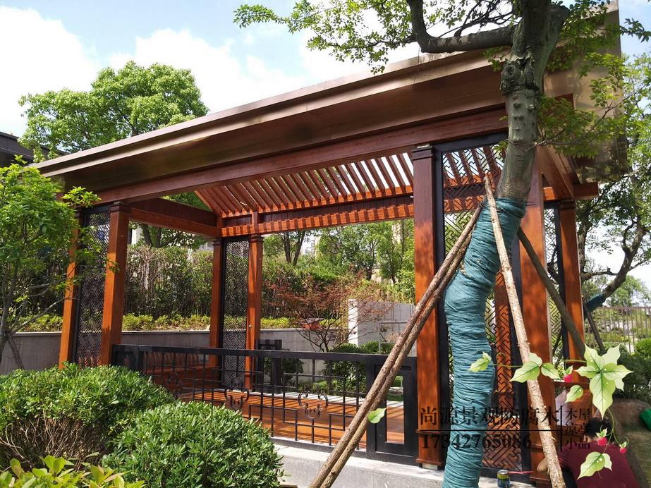 天德湖公园 现代木结构廊架
