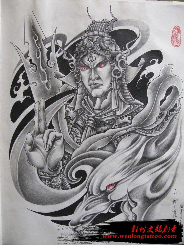 郑州满背纹身图案大全之二郎神纹