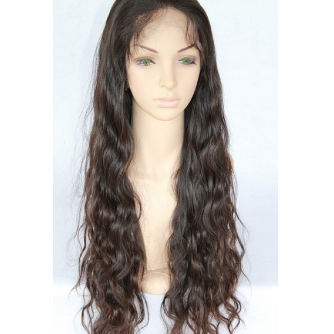Human Hair Lace Wigs Natural Color Natural Wave 24 Inch Quility