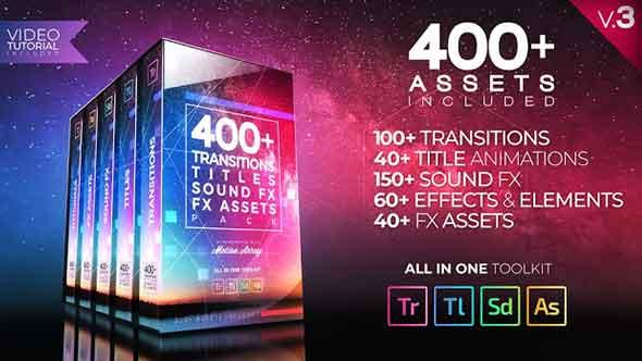 PR模板-400个转场效果文字标题音效合集包