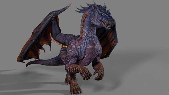 C4D长翅膀的魔龙模型(带动画)