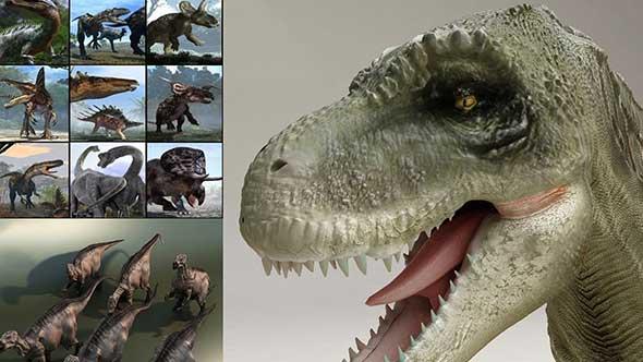 34套恐龙模型合集 Dinosaurs with Rig恐龙模型