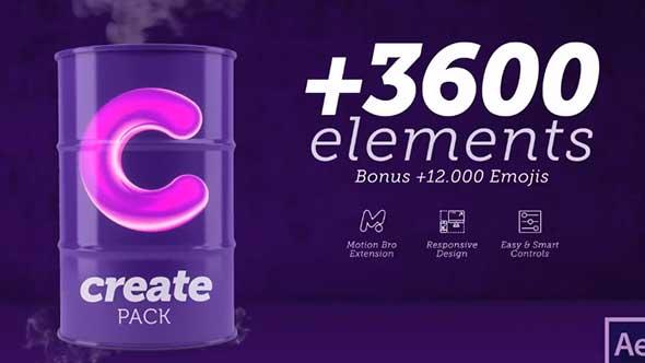 AE脚本-3600组标题MG元素背景转场社交表情图文排版包装动画预设