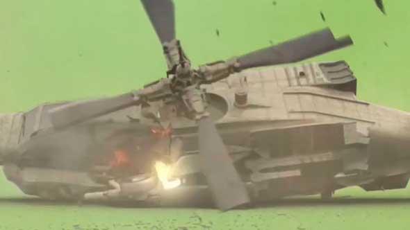 爆炸洪水直升机坠落骷髅飞碟绿幕抠像素材