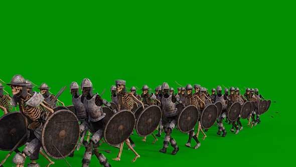 骷髅大军绿幕抠像素材