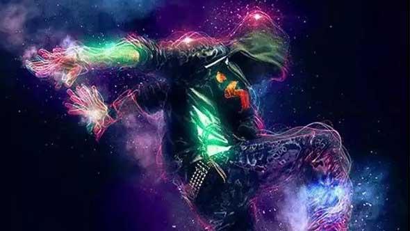 PS动作-酷炫星空人物描边能量线条特效效果