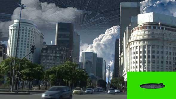 绿幕抠像-独立日ID4飞船绿屏3D
