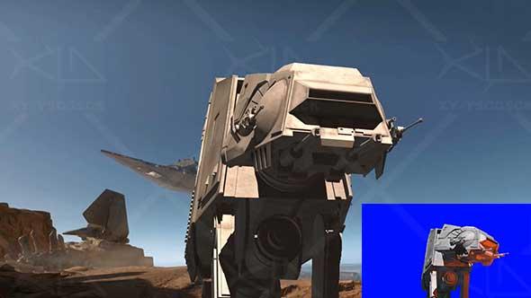 绿幕抠像-高清AT AT机器人射击特写3D绿屏