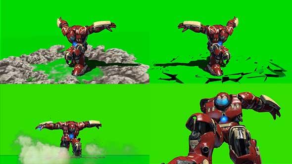 绿幕抠像-钢铁侠绿巨人套装绿屏3D动画素材