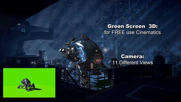 绿幕抠像-机器人行走绿屏3D超清动画素材